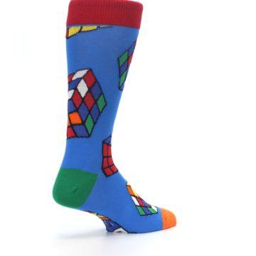 Image of Blue Multi Rubik's Cube Men's Dress Socks (side-1-back-22)