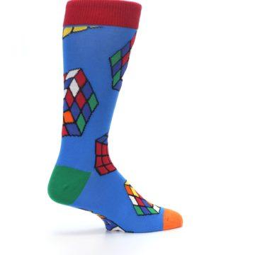 Image of Blue Multi Rubik's Cube Men's Dress Socks (side-1-23)