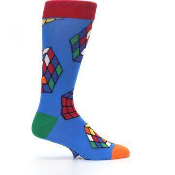 Image of Blue Multi Rubik's Cube Men's Dress Socks (side-1-24)