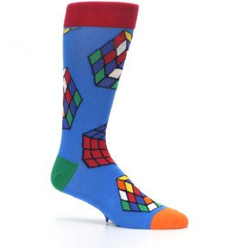 Image of Blue Multi Rubik's Cube Men's Dress Socks (side-1-25)