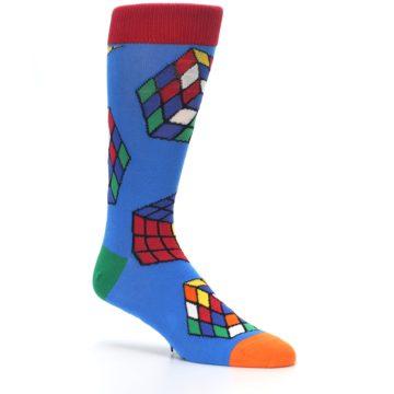 Image of Blue Multi Rubik's Cube Men's Dress Socks (side-1-26)
