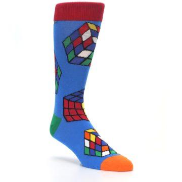 Image of Blue Multi Rubik's Cube Men's Dress Socks (side-1-27)