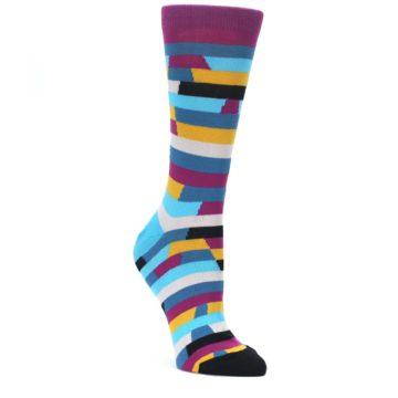 Purple-Blue-Digi-Stripe-Womens-Dress-Socks-Ballonet-Socks
