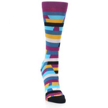 Image of Purple Blue Digi Stripe Women's Dress Socks (side-1-front-03)