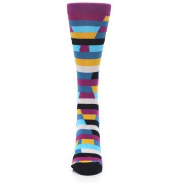Image of Purple Blue Digi Stripe Women's Dress Socks (front-05)