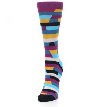 Image of Purple Blue Digi Stripe Women's Dress Socks (side-2-front-07)