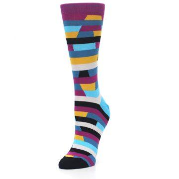 Image of Purple Blue Digi Stripe Women's Dress Socks (side-2-front-08)