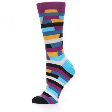 Image of Purple Blue Digi Stripe Women's Dress Socks (side-2-11)