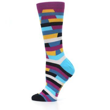 Image of Purple Blue Digi Stripe Women's Dress Socks (side-2-12)