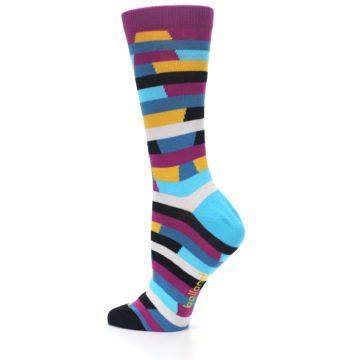 Image of Purple Blue Digi Stripe Women's Dress Socks (side-2-13)