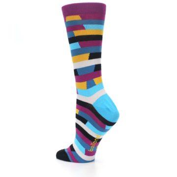 Image of Purple Blue Digi Stripe Women's Dress Socks (side-2-back-14)