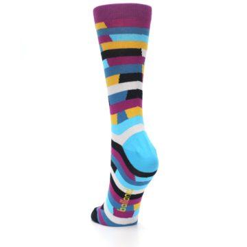 Image of Purple Blue Digi Stripe Women's Dress Socks (side-2-back-16)