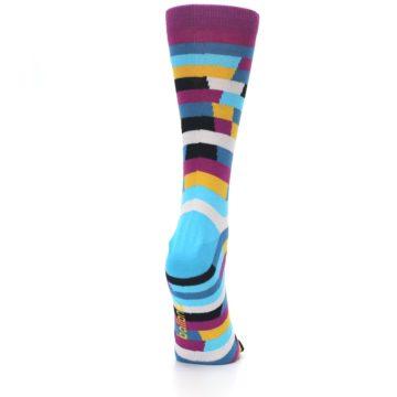 Image of Purple Blue Digi Stripe Women's Dress Socks (side-1-back-20)