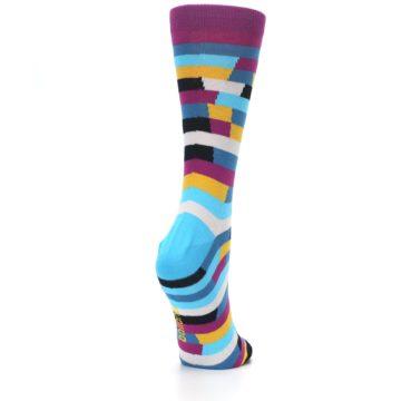 Image of Purple Blue Digi Stripe Women's Dress Socks (side-1-back-21)