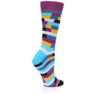 Image of Purple Blue Digi Stripe Women's Dress Socks (side-1-23)