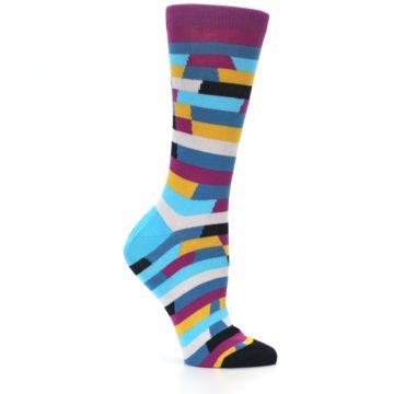 Image of Purple Blue Digi Stripe Women's Dress Socks (side-1-25)