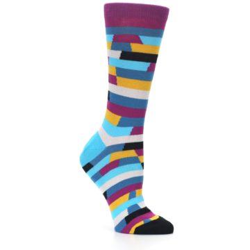 Image of Purple Blue Digi Stripe Women's Dress Socks (side-1-26)