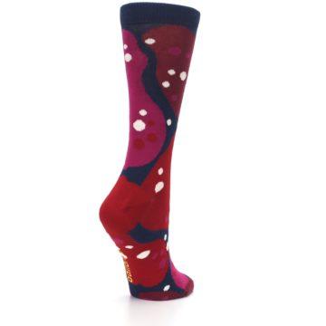 Image of Navy Maroon Red Lava Women's Dress Socks (side-1-back-22)