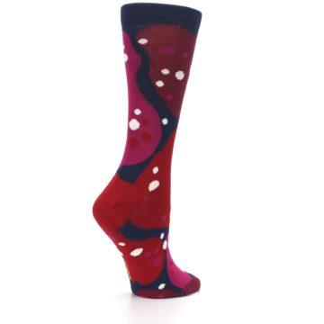 Image of Navy Maroon Red Lava Women's Dress Socks (side-1-23)