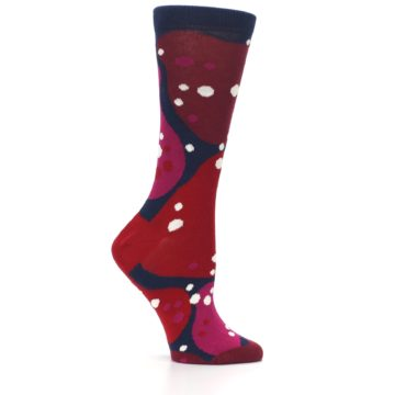 Image of Navy Maroon Red Lava Women's Dress Socks (side-1-25)