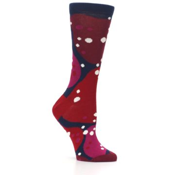 Image of Navy Maroon Red Lava Women's Dress Socks (side-1-26)