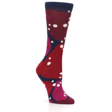 Image of Navy Maroon Red Lava Women's Dress Socks (side-1-27)