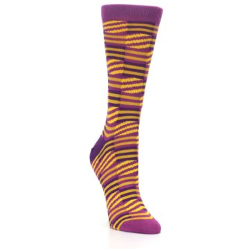 Image of Purple Yellow Checkered Stripes Women's Dress Socks (side-1-front-02)