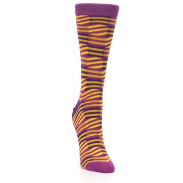 Image of Purple Yellow Checkered Stripes Women's Dress Socks (side-1-front-03)
