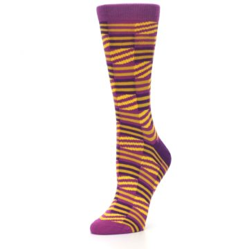 Image of Purple Yellow Checkered Stripes Women's Dress Socks (side-2-09)