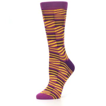 Image of Purple Yellow Checkered Stripes Women's Dress Socks (side-2-10)