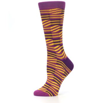 Image of Purple Yellow Checkered Stripes Women's Dress Socks (side-2-11)
