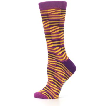Image of Purple Yellow Checkered Stripes Women's Dress Socks (side-2-12)