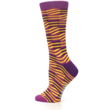 Image of Purple Yellow Checkered Stripes Women's Dress Socks (side-2-13)
