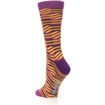 Image of Purple Yellow Checkered Stripes Women's Dress Socks (side-2-back-15)