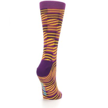 Image of Purple Yellow Checkered Stripes Women's Dress Socks (side-1-back-21)