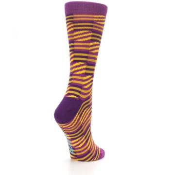 Image of Purple Yellow Checkered Stripes Women's Dress Socks (side-1-back-22)