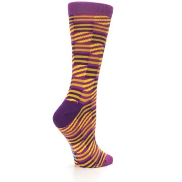 Image of Purple Yellow Checkered Stripes Women's Dress Socks (side-1-23)