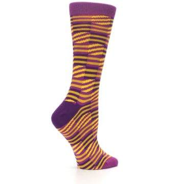 Image of Purple Yellow Checkered Stripes Women's Dress Socks (side-1-24)