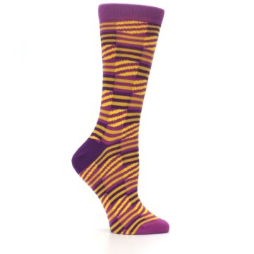 Image of Purple Yellow Checkered Stripes Women's Dress Socks (side-1-25)