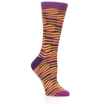 Image of Purple Yellow Checkered Stripes Women's Dress Socks (side-1-26)
