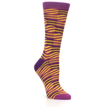 Image of Purple Yellow Checkered Stripes Women's Dress Socks (side-1-27)