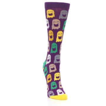 Image of Purple Multi Ghosts Women's Dress Socks (side-1-front-03)