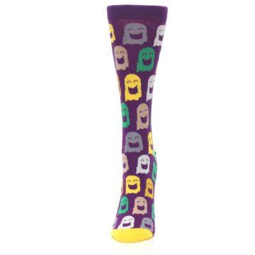 Image of Purple Multi Ghosts Women's Dress Socks (side-2-front-06)