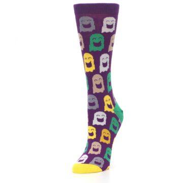 Image of Purple Multi Ghosts Women's Dress Socks (side-2-front-08)
