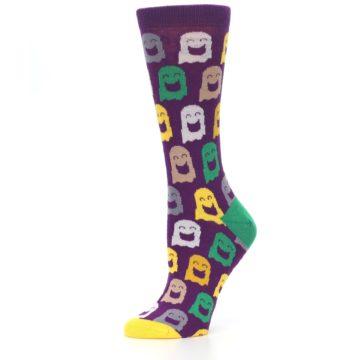 Image of Purple Multi Ghosts Women's Dress Socks (side-2-10)
