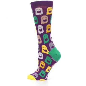 Image of Purple Multi Ghosts Women's Dress Socks (side-2-13)