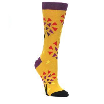 Yellow-Abstract-Trees-Womens-Dress-Socks-Ballonet-Socks