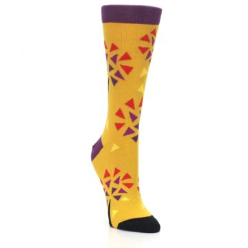 Image of Yellow Abstract Trees Women's Dress Socks (side-1-front-02)