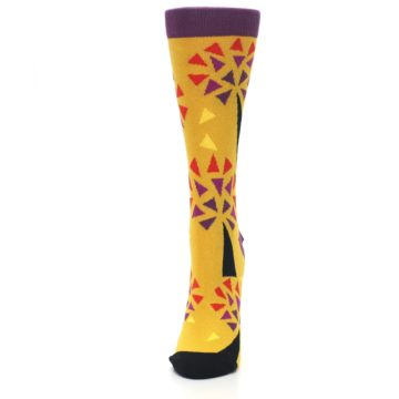 Image of Yellow Abstract Trees Women's Dress Socks (side-2-front-06)