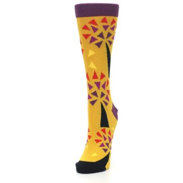 Image of Yellow Abstract Trees Women's Dress Socks (side-2-front-07)